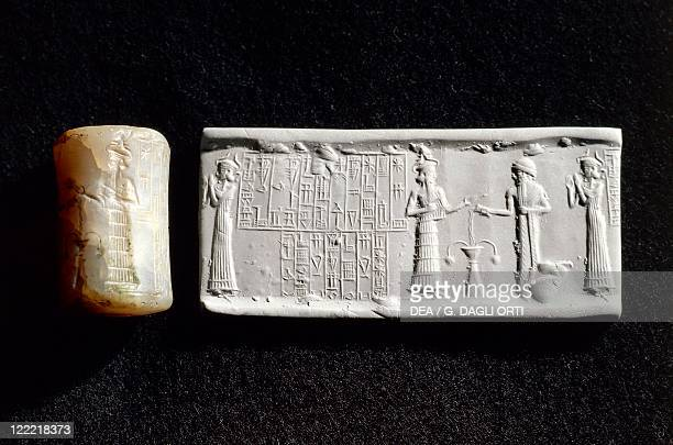 Sumerian civilization 3rd millennium bC Cylinder seal and impression of a governor of Nippur