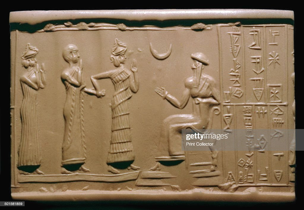 Sumerian cylinder-seal impression depicting a governor being introduced to the king. : News Photo