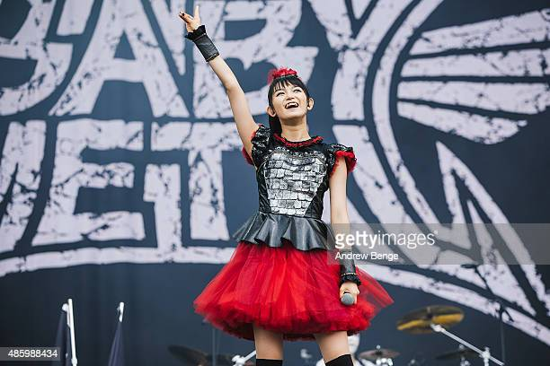 Sumetal of Babymetal performs on the main stage during day 3 of Leeds Festival at Bramham Park on August 30 2015 in Leeds England