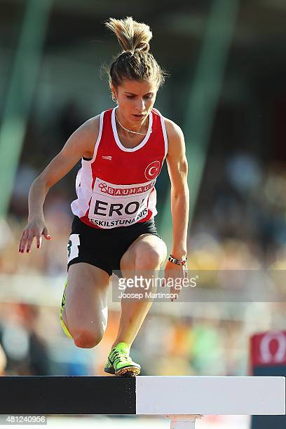 Sumeyye Erol of Turkey competes during the Women's Steeplechase final at Ekangen Arena on July 18 2015 in Eskilstuna Sweden