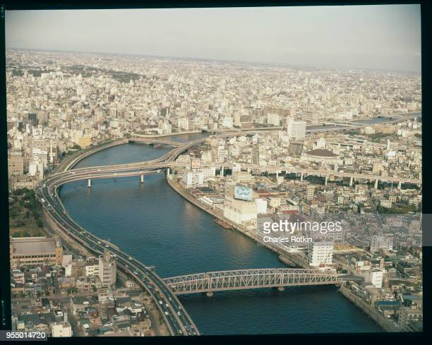 Sumida river Bridges and highways cross the Sumida River throughout the city November 1972 Tokyo Japan