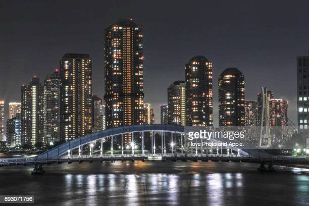 sumida river night view - 永代橋 ストックフォトと画像