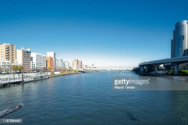 sumida river, tokyo, japan. - mauro tandoi stock photos and pictures