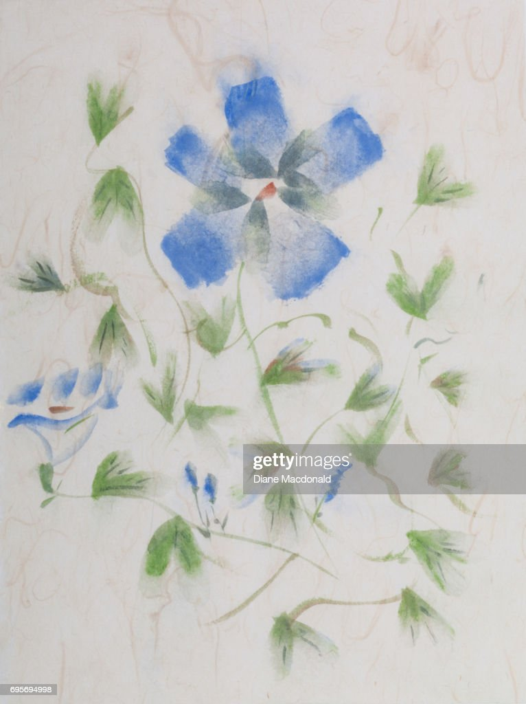 sumie painting of blue flower stock photo getty images