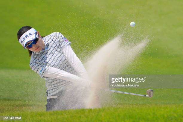 Sumika Nakasone of Japan hits out from a bunker on the 2nd hole during the second round of Rakuten Super Ladies at Tokyu Grand Oak Golf Club on July...