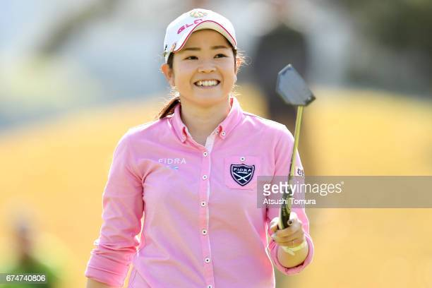 Sumika Nakasone of Japan smiles after making he birdie putt on the 1st hole during the second round of the CyberAgent Ladies Golf Tournament at the...
