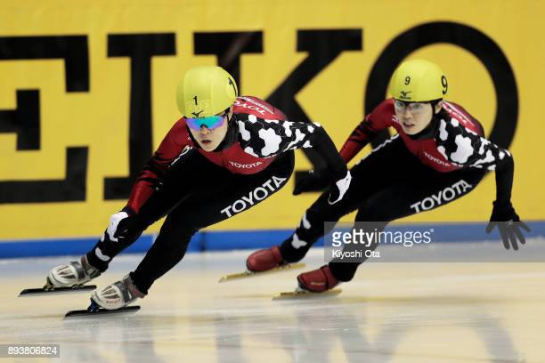 Sumire Kikuchi and Ayuko Ito compete in the Ladies' 500m Final A during day one of the 40th All Japan Short Track Speed Skating Championships at...