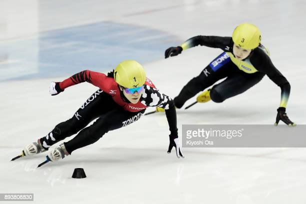 Sumire Kikuchi and Hitomi Saito compete in the Ladies' 500m Semifinal during day one of the 40th All Japan Short Track Speed Skating Championships at...
