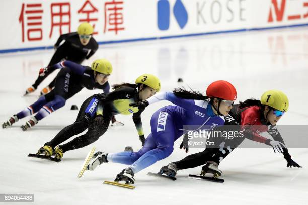 Sumire Kikuchi and Yuki Kikuchi compete in the Ladies' 3000m Superfinal during day two of the 40th All Japan Short Track Speed Skating Championships...