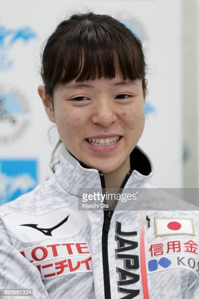 Sumire Kikuchi attends a press conference following the announcement of the Japan Short Track Speed Skating Team for the PyeongChang 2018 Winter...