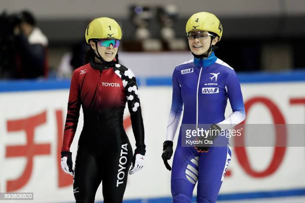 Sumire Kikuchi celebrates with Yuki Kikuchi after winning the Ladies' 500m Final A during day one of the 40th All Japan Short Track Speed Skating...