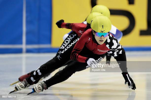 Sumire Kikuchi competes in the Ladies' 500m Final A during day one of the 40th All Japan Short Track Speed Skating Championships at Nippon Gaishi...