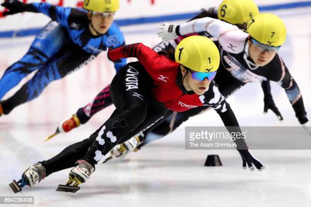 Sumire Kikuchi leads the pack in the Women's 1000m Final B during day two of the 40th All Japan Short Track Speed Skating Championships at Nippon...