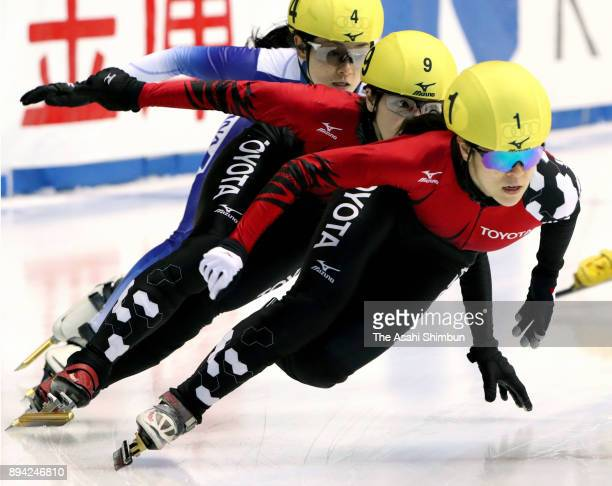 Sumire Kikuchi leads the pack in the Women's 500m Final A during day one of the 40th All Japan Short Track Speed Skating Championships at Nippon...