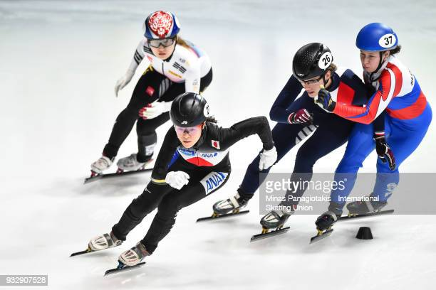 Sumire Kikuchi of Japan breaks free from the pack in the women's 500 meter heats during the World Short Track Speed Skating Championships at Maurice...