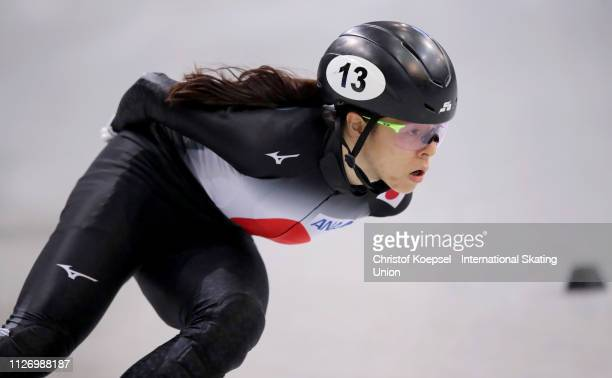 Sumire Kikuchi of Japan competes during the ladies 1500 meter semi final heat one during the ISU Short Track World Cup Day 1 at EnergieVerbund Arena...
