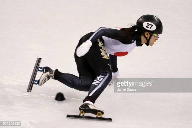 Sumire Kikuchi of Japan competes during the Ladies Short Track Speed Skating 1000m Heats on day eleven of the PyeongChang 2018 Winter Olympic Games...