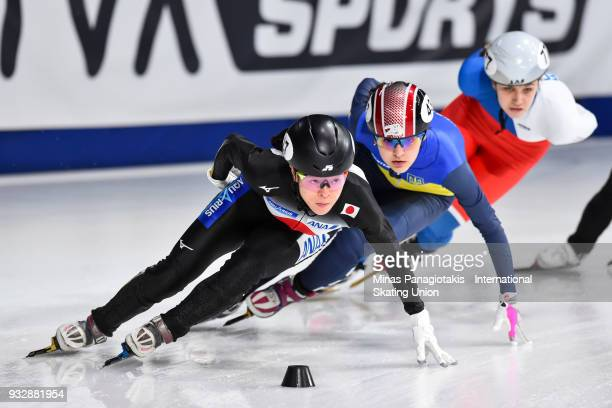 Sumire Kikuchi of Japan competes in the women's 1500 meter heats during the World Short Track Speed Skating Championships at Maurice Richard Arena on...