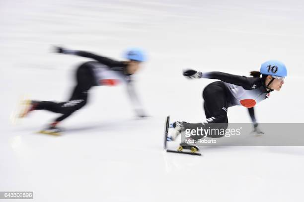 Sumire Kikuchi of Japan competes in the Women's 500 metre Short Track Speed Skating on day four of the 2017 Sapporo Asian Winter Games at Makomanai...