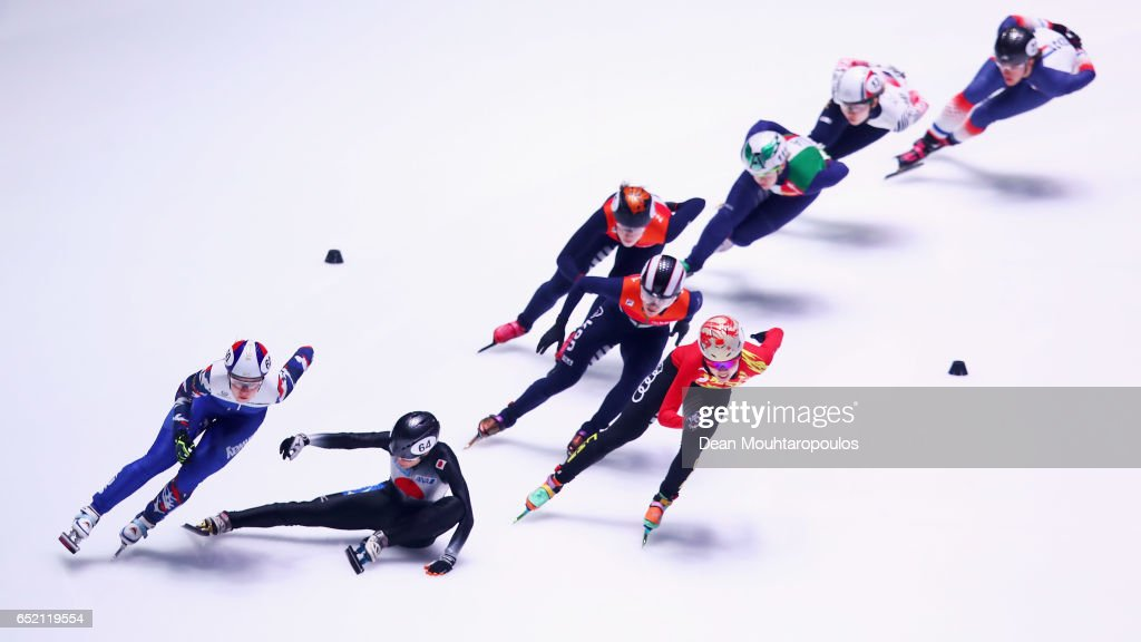 Sumire Kikuchi #64 of Japan falls on the ice and crashes out of the 1500m Semifinals race at ISU World Short track Speed Skating Championships held at the Ahoy on March 11, 2017 in Rotterdam, Netherlands.