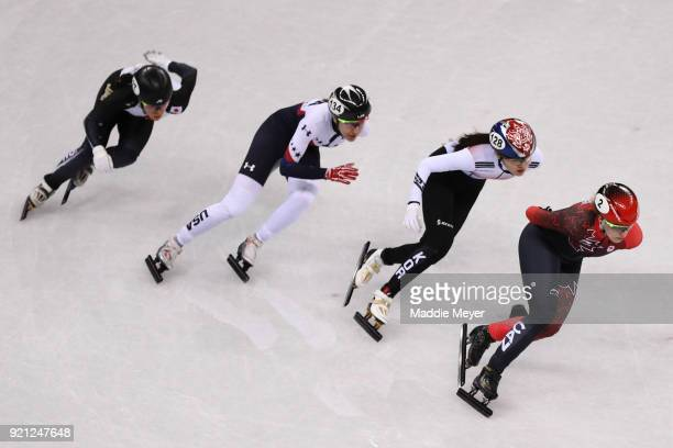 Sumire Kikuchi of Japan Lana Gehring of the United States Alang Kim of Korea and Marianne St Gelais of Canada during the Ladies Short Track Speed...
