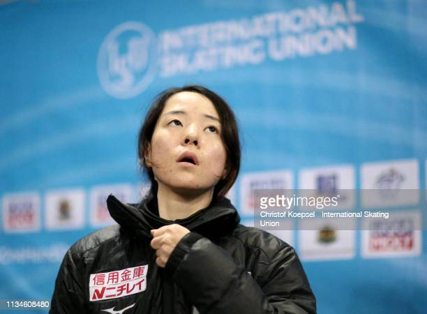 Sumire Kikuchi of Japan prepares during the ISU World Short Track Speed Skating Championships Day 2 at Armeec Arena on March 09 2019 in Sofia...