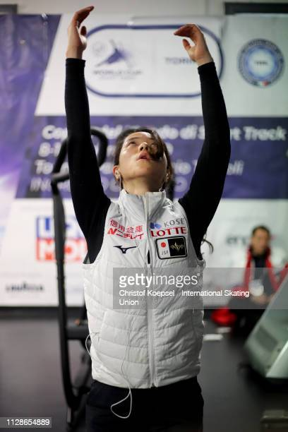 Sumire Kikuchi of Japan warms up prior to the ISU Short Track World Cup Day 2 at Tazzoli Ice Rink on February 10 2019 in Turin Italy Photo by...