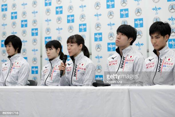 Sumire Kikuchi speaks while Shione Kaminaga Hitomi Saito Ryosuke Sakazume and Kazuki Yoshinaga look on during a press conference following the...