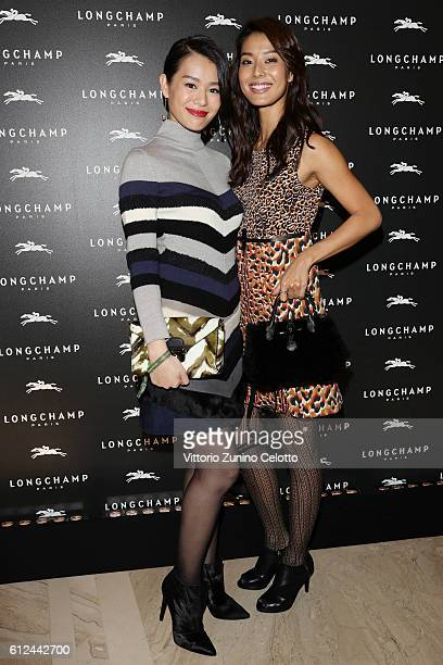 Sumire Matsubara and guest attend the Lonchamp Cocktail as part of the Paris Fashion Week Womenswear Spring/Summer 2017 at Longchamp Boutique St...