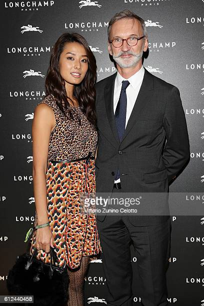 Sumire Matsubara and Jean Cassegrain attend the Lonchamp Cocktail as part of the Paris Fashion Week Womenswear Spring/Summer 2017 at Longchamp...
