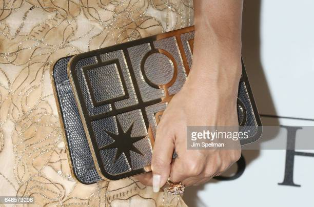 Sumire Matsubara bag detail attends the world premiere of 'The Shack' hosted by Lionsgate at Museum of Modern Art on February 28 2017 in New York City