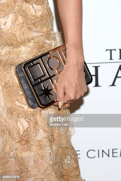 Sumire Matsubara handbag detail attends the world premiere of 'The Shack' hosted by Lionsgate at Museum of Modern Art on February 28 2017 in New York...