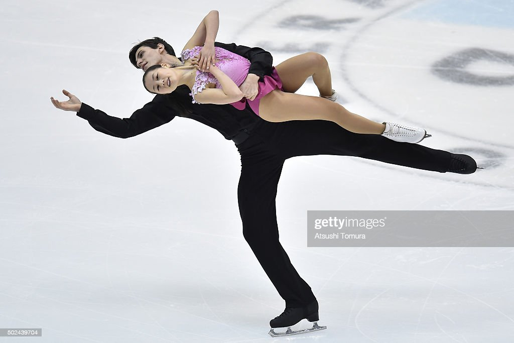 Sumire Suto and Francis Boudereau-Auded of Japan compete in the Pair short program during the day one of the 2015 Japan Figure Skating Championships at the Makomanai Ice Arena on December 25, 2015 in Sapporo, Japan.