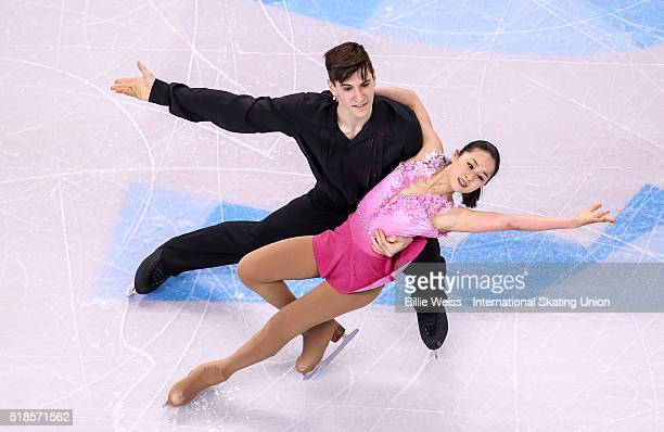 Sumire Suto and Francis Boudreau Audet of Japan compete during Day 5 of the ISU World Figure Skating Championships 2016 at TD Garden on April 1 2016...