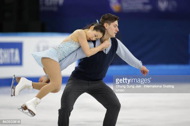 Sumire Suto and Francis Boudreau of Japan compete in the Pairs free program during ISU Four Continents Figure Skating Championships Gangneung Test...