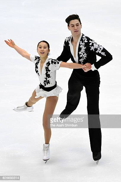 Sumire Suto and Francois Boudreau Audet of Japan compete in in the Pairs short program during day one of the ISU Grand Prix of Figure Skating NHK...