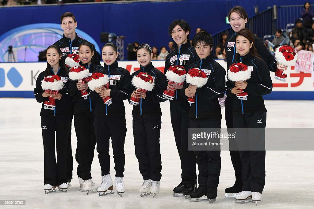 Sumire Suto, Francis Boudereau-Audet, Mai Mihara, Wakaba Higuchi, Satoko Miyahara, Keiji Tanaka, Shoma Uno, Kana Muraoto and Chris Reed pose for photo session after they were selected as Japanese representitive for the World Championship 2016 in Helsinki, Finland after the 2016 Japan Figure Skating Championships on December 25, 2016 in Kadoma, Japan.