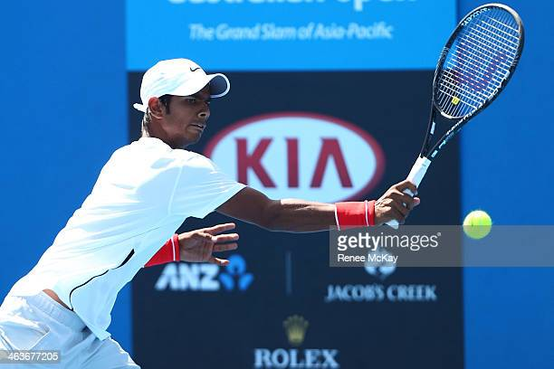 Sumit Nagal of India in action in their first round doubles match with Hyeon Chung of Korea against Pedro Martinez Portero and Jaume Antoni Munar...