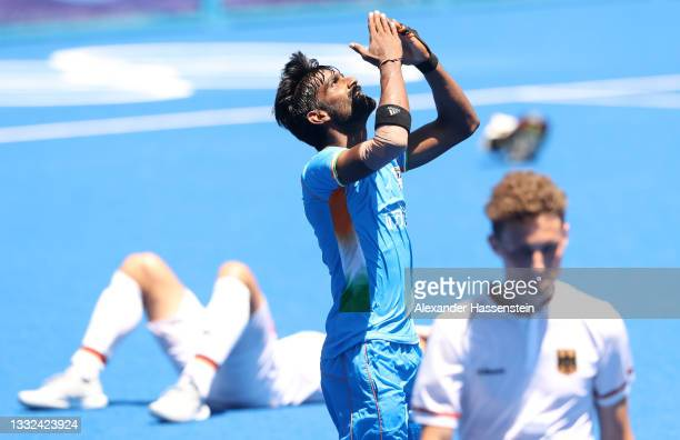 Sumit of Team India reacts after winning the Men's Bronze medal match between Germany and India on day thirteen of the Tokyo 2020 Olympic Games at Oi...