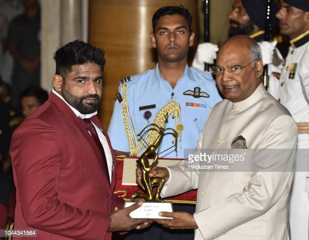 Sumit receives Arjuna Award 2018 for his achievements in Wrestling from President Ram Nath Kovind at National Sports and Adventure Award 2018 at...