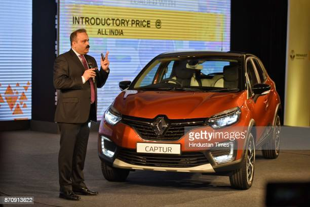 Sumit Sawhney, Managing Director and Chief Executive Officer of Renault India Private Limited speaks during the launch of premium sports utility...
