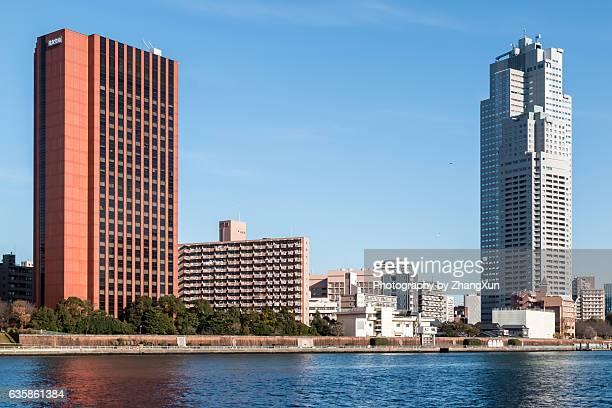 Sumitomo life building and Tower St Luke's Garden in Tsukiji area, Tokyo, Japan,
