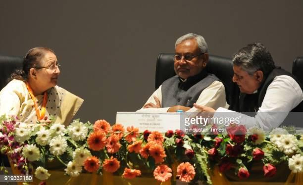 Sumitra Mahajan Hon'ble Speaker Lok Sabha with Vijay Chaudhary Speaker Bihar Assembly and Chief Minister Nitish Kumar during the 6th India region...