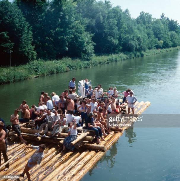 Summer 1985 Raft trip on Isar river Start from Wolfratshausen to Munich