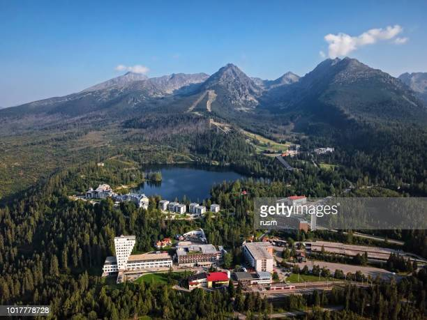 summer aerial view of strbske pleso resort in high tatras mountains, slovakia. - slovakia stock pictures, royalty-free photos & images