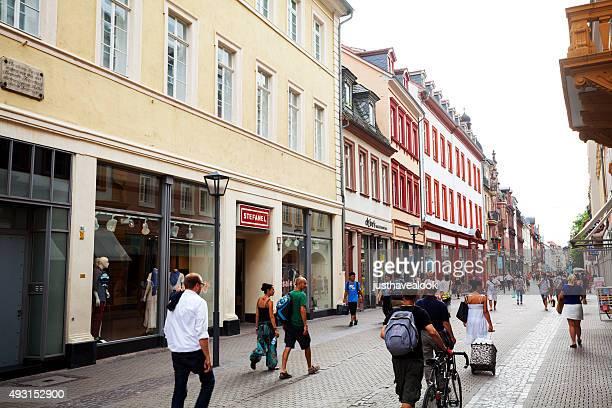 summer afternoon in hauptstraße of heidelberg - hauptstraße stock pictures, royalty-free photos & images