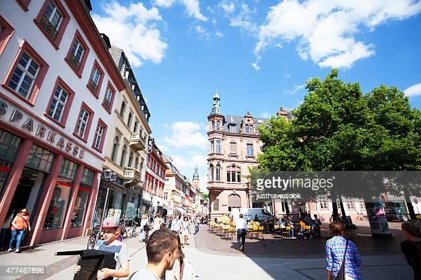summer afternoon in pedestrian zone hauptstraße of heidelberg - hauptstraße stock pictures, royalty-free photos & images