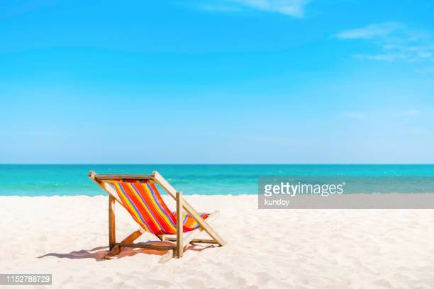 summer and travel concept. - outdoor chair stock pictures, royalty-free photos & images