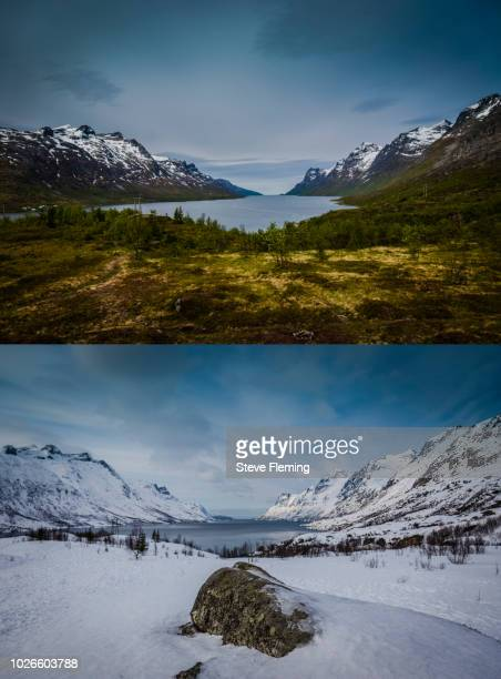 Summer and winter viewpoint overlooking Ersfjordbotn, Troms Fylke, Norway
