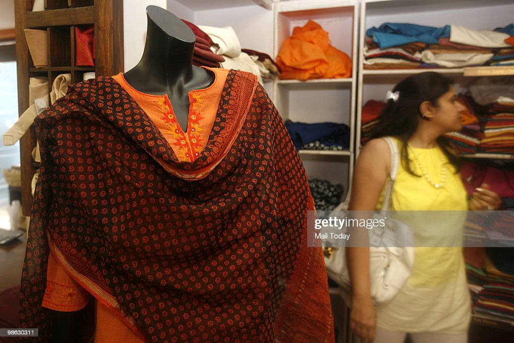 Summer apparel can be seen displayed at the Khan market outlet of FabIndia in New Delhi on April 21, 2010.
